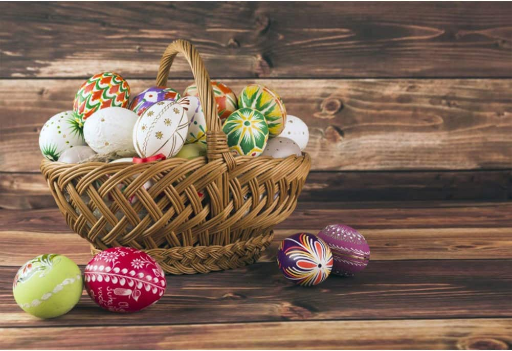 Leyiyi Easter Backdrop 10x8ft Photography Backdrop Artistic Pattern Colorful Egg Bamboo Basket Vintage Grunge Wooden Textured Wall Easter Day Celebration Spring Party Backdrop Photo Booth Props