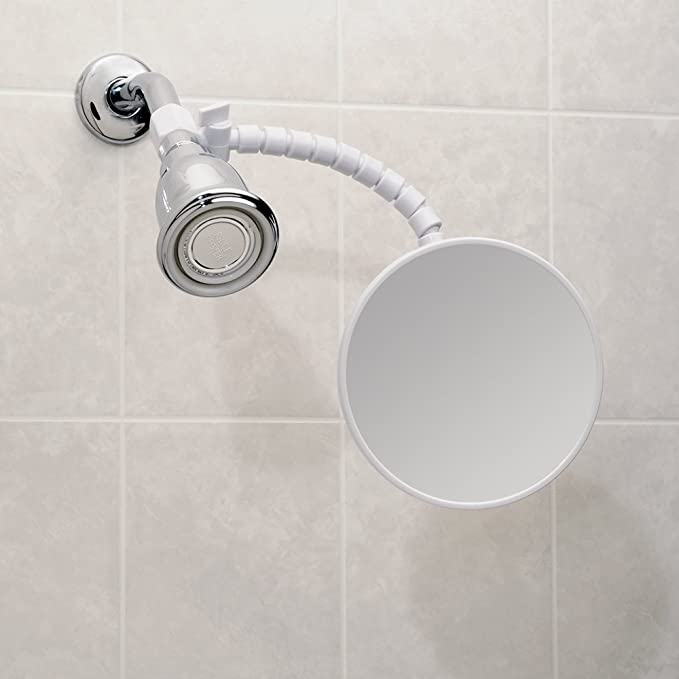 InterDesign Suction Fog-Free Shower Shaving Mirror for Bathroom with Flexible Arm - White