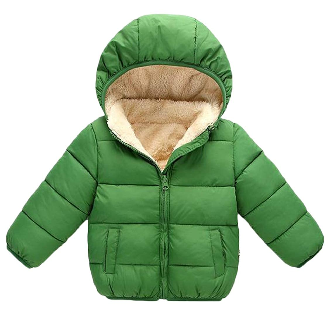 pipigo Boy and Girl Fleece Winter Hooded Quilted Parka Jacket Down Coat