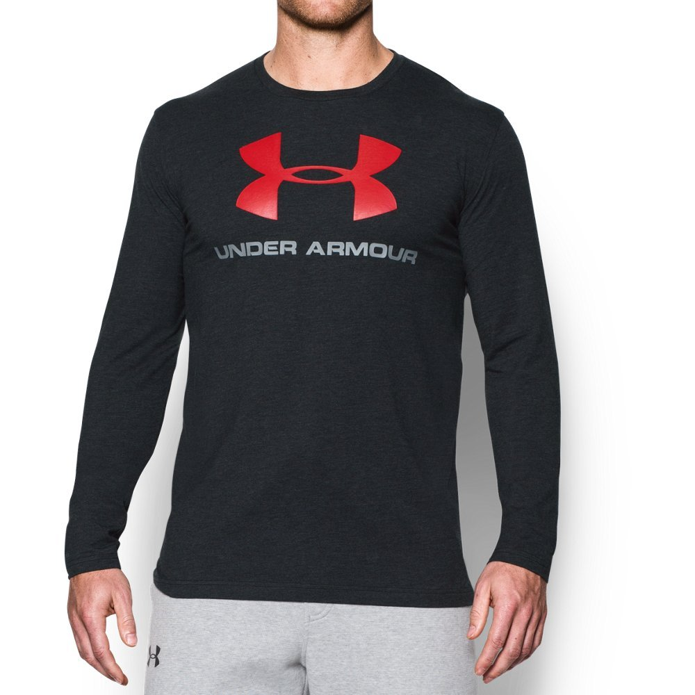 Under Armour Men's Sportstyle Long Sleeve T-Shirt, Black /Red, XXX-Large by Under Armour (Image #1)