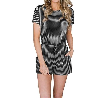 3d3dd366c041 Amazon.com  Longay Women Short Sleeves Stripes Romper Jumpsuit Summer  Vintage Mini Dress  Clothing