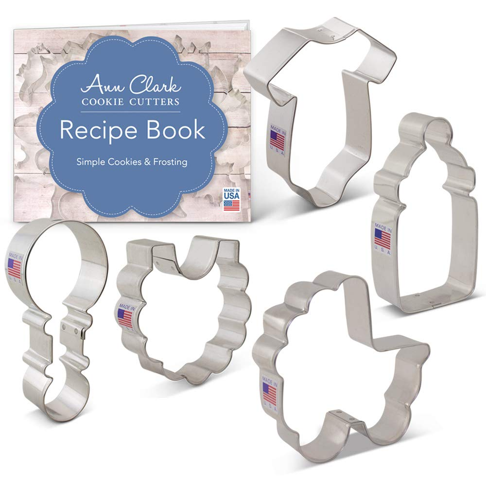 Baby Shower Cookie Cutter Set with Recipe Book - 5 Piece - Onesie, Bib, Rattle, Bottle, and Baby Carriage - Ann Clark Cookie Cutters - USA Made Steel