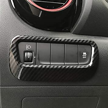 Carbon Fiber ABS Head Light Lamp Switch Cover Trim For Ford mustang 2015-2017