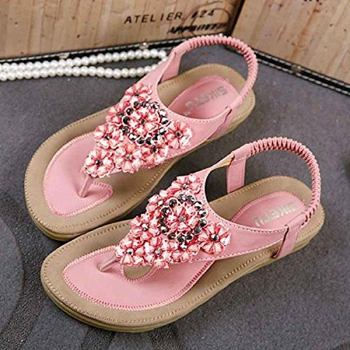 Culater® Women Fashion Sweet Beaded Clip Toe Flats Bohemian Herringbone Sandals Pink MRqmmBOce