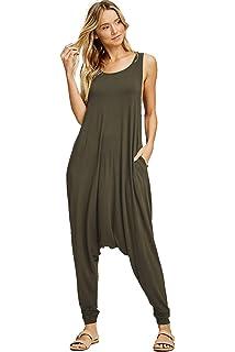 94fa0b19d68 Annabelle Women s Solid Harem Pant Sleeveless Pocket Harem Pant Jumpsuit