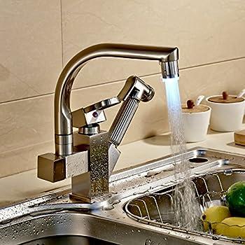 Rozinsanitary Brushed Nickel LED Swivel Spout Kitchen Sink Faucet ...