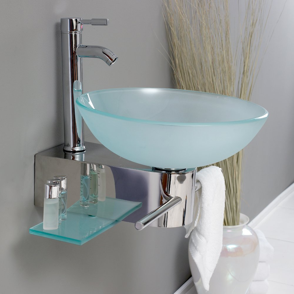 Fresca Bath FVN1012 Cristallino Glass Vanity with Frosted Sink ...