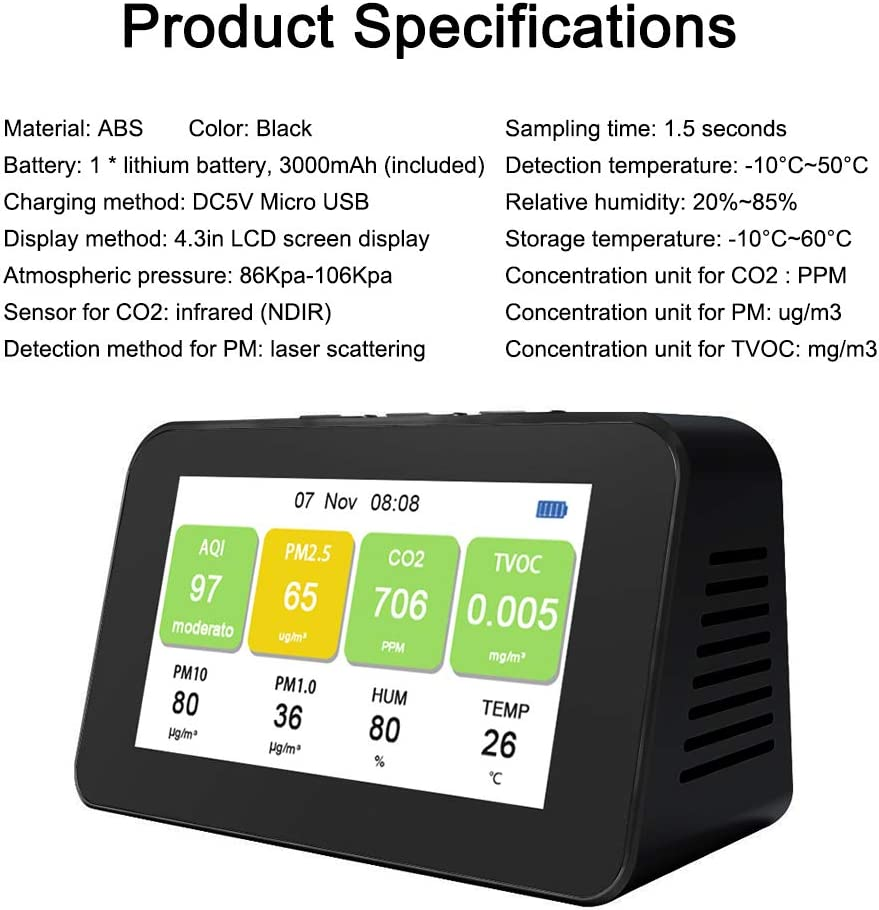 CO2 Messgerät Kohlendioxid-Detektor HCHO TVOC Detektor Luftqualitätstester P0Q1
