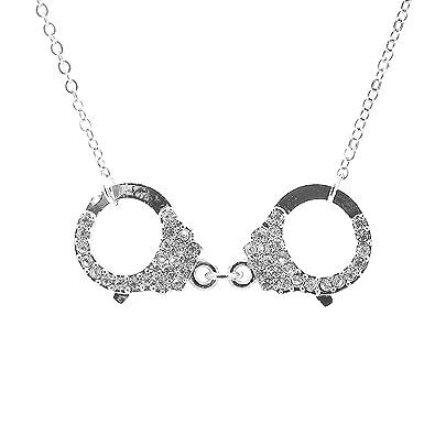 Amazon spinningdaisy silver plated crystal handcuff necklace spinningdaisy silver plated crystal handcuff necklace aloadofball Image collections