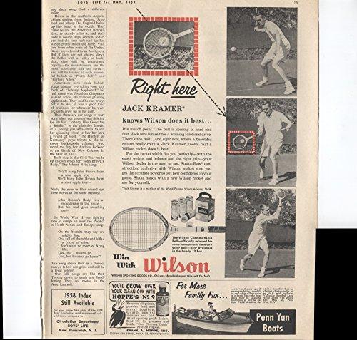 Wilson Tennis Racket Right Here Jack Kramer Knows Wilson Does It Best 1959 Vintage Antique Advertisement (Best Selling Wilson Tennis Racquets)