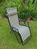 Garden Chair - Padded Green Check Sun Lounger Recliner Chairs - Weatherproof Textoline