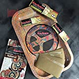 Metal Rolling Tray , Mini size, available in 4 designs as showed in picture, NON Flexible, Sturdy and Durable, Smoothly Curved Edges, High Quality, Length: 10inch, Width: 7 inch, Net Weight: 2.5 ounces per pc.