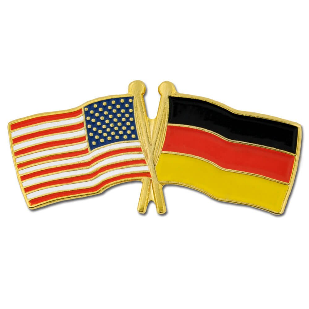 PinMart's USA and Germany Crossed Friendship Flag Enamel Lapel Pin