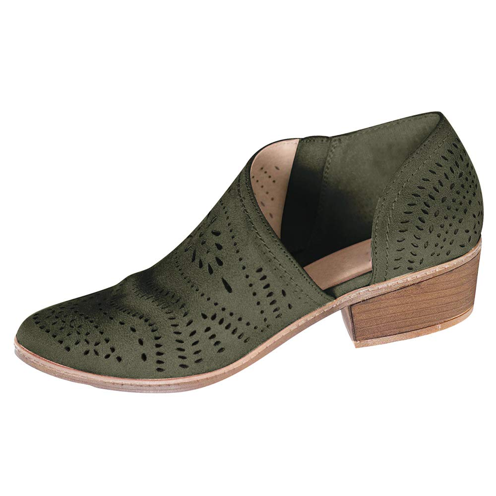 Army Green XMWEALTHY Women's Ankle Boots Breathable Cut Out Side Zipper Slip On Loafers Platform shoes