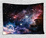 Ambesonne Space Decorations Collection, Stars Nebula Colorful Space Galaxy Astronomic Picture Print, Bedroom Living Room Dorm Wall Hanging Tapestry, 80 X 60 Inch, Navy Pink