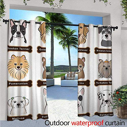 BlountDecor Dog Outdoor Blackout Curtains W84 x L108 Various Type of Dogs Nameplate Boston Terrier Domestic Animal Faithful Loyal Outdoor Privacy Porch Curtains Grey Cream White