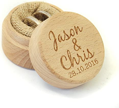 Personalized ring box for wedding ceremony Names and Date engraving ring pillow