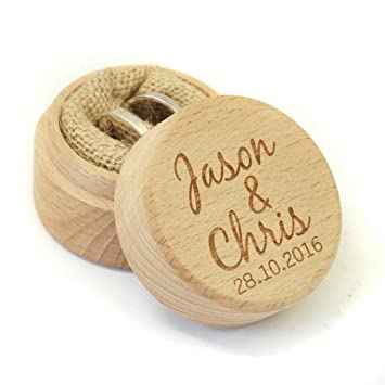 Amazon Com Personalized Rustic Wedding Ring Box Holder Custom Your