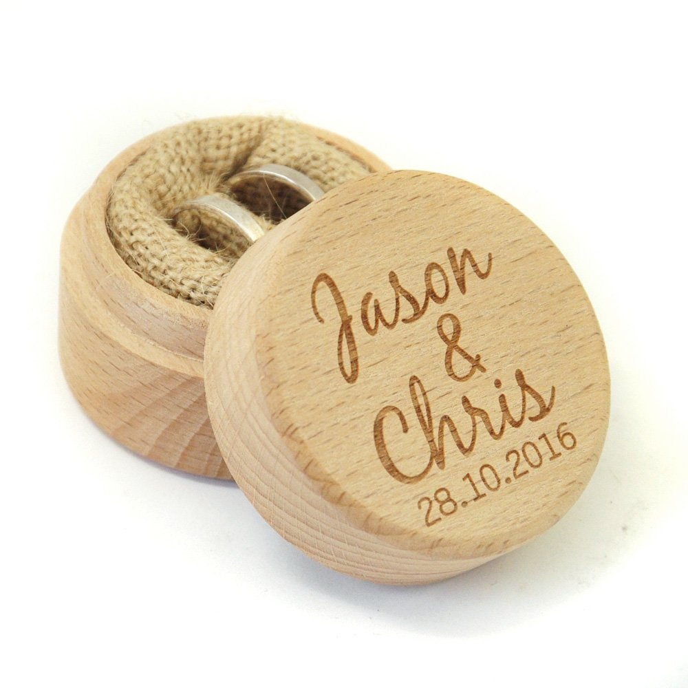 Personalized Rustic Wedding Ring Box Holder Custom Your Names and Date Wedding Ring Bearer Box weddinghanger2015 ringbox1