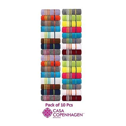 Casa Copenhagen Exotic Premium Cotton 500 GSM 10 Pack Designer Face Towels Set (30cm x 30cm)- Assorted Any 10 Pcs Face Towels/Washcloths