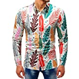 OWMEOT Mens Stylish Universe Galaxy Print Patched Long Sleeve Casual Slim Shirt (Multicolor c, L)