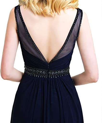 Długa sukienka balowa z szyfonu, sukienka dla druhny, sukienka wieczorowa, sukienka stojąca, dekolt w kształcie litery V, sukienka koktajlowa: Odzież