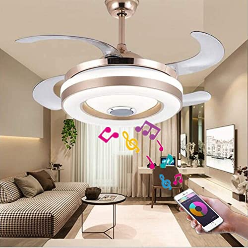 Sweety House 42 Bluetooth Ceiling Fan Chandelier Sith Speaker To Play Music, With Remote Control Adjustable 7 Kinds Of LED Light Adjustable 3 Kinds Of Wind Speed Retractable Chandelier Lighting Kit