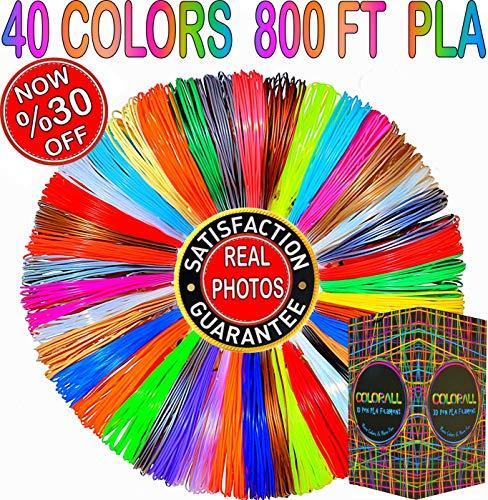 3D Pen Filament Refills 1.75mm PLA 40 Colors Total 800 Feet (23 Solid / 5 Metallic / 4 Fluo / 4 Transparent / 2 Silk / 2 Glow)- Mega Gift Set with Individual Packs