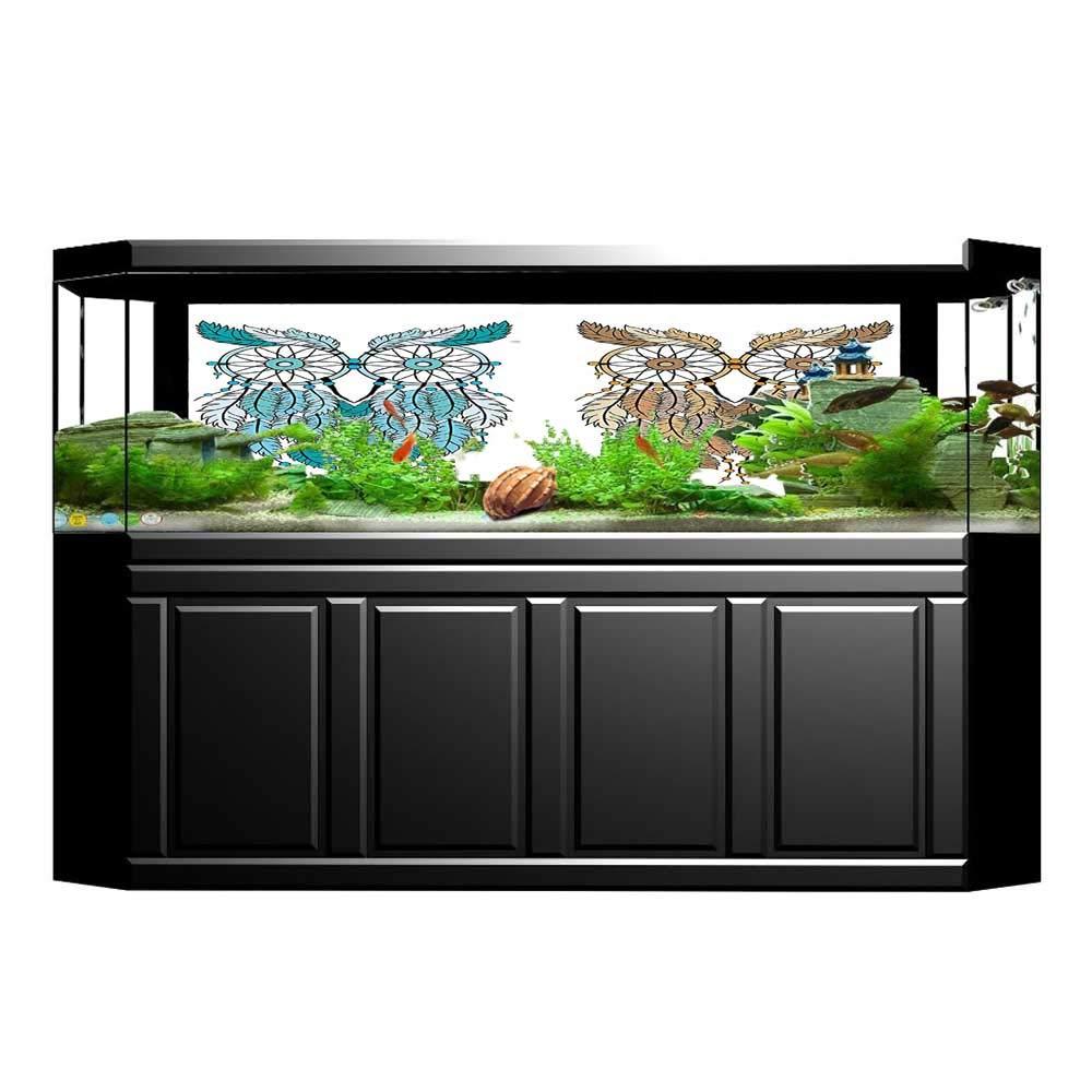 color07 L35.4\ color07 L35.4\ Jiahong Pan Aquarium Decorative Dreamcatcher Style Tribal Features Farsighted Birds Artsy Print Aquarium Background Sticker Wallpaper L35.4 x H19.6