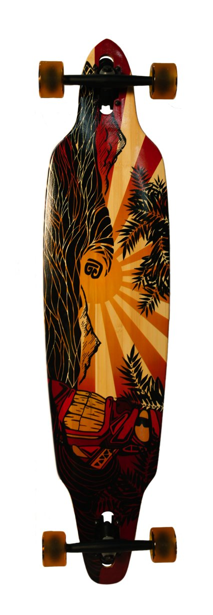 Bamboo Skateboards Directional Drop Through Longboard 41.13 x 9.625 – Pacific Sunset Graphic