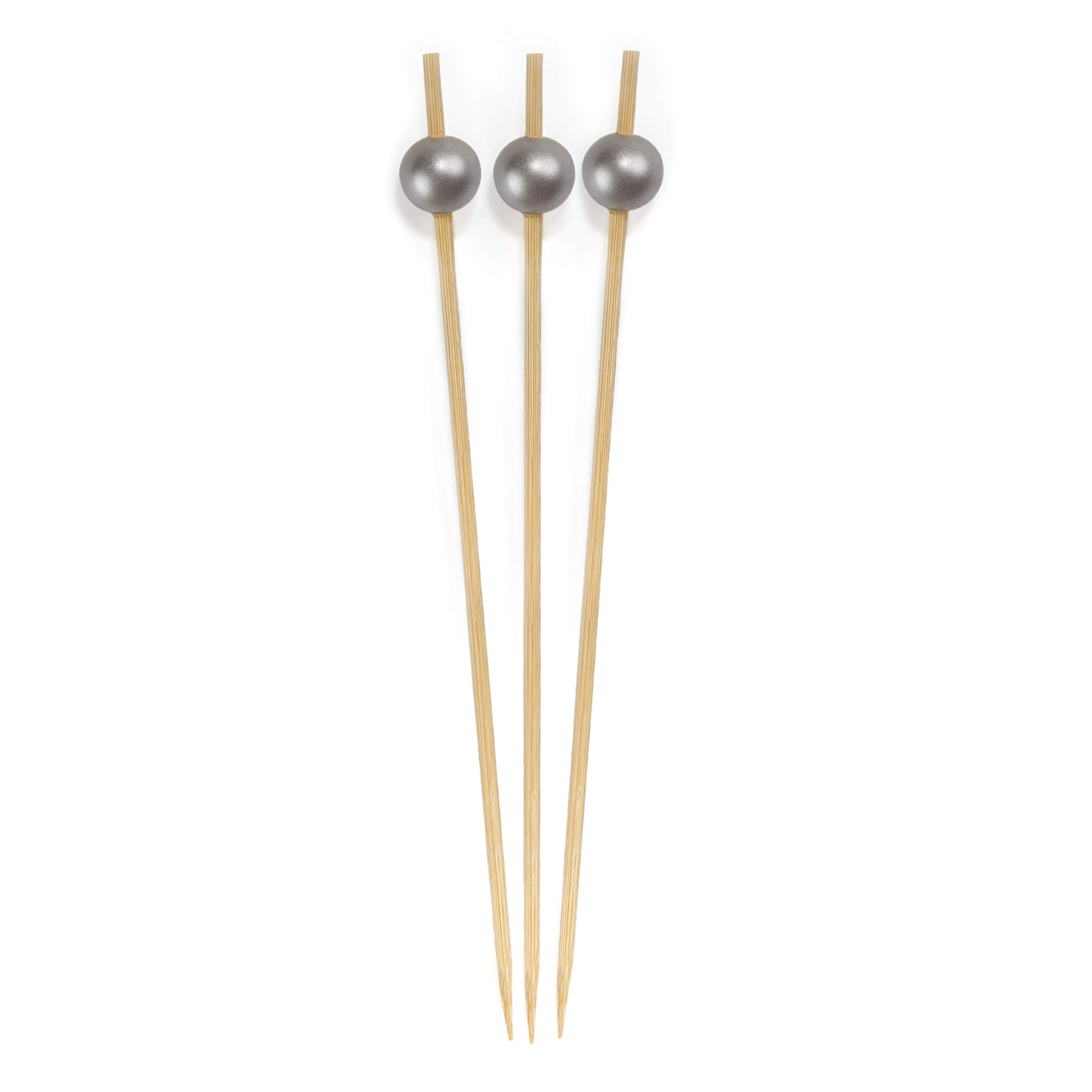 BambooMN 4.7'' Decorative Pearl End Cocktail Fruit Sandwich Picks Skewers for Catered Events, Holiday's, Restaurants or Buffets Party Supplies - 1000pcs, Matte Grey