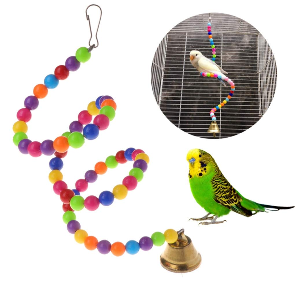 Whryspa Parrot Toys Spiral Swing Stand Holder Birds Creative Bell Colorful Beads Ladder Hook can be Hang on The top of Cages,80CM by Whryspa