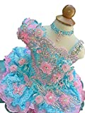 Aisha Baby Girls' Lace Cupcakes Crystals Toddler Mini Party Dress 01 US Blue Pink