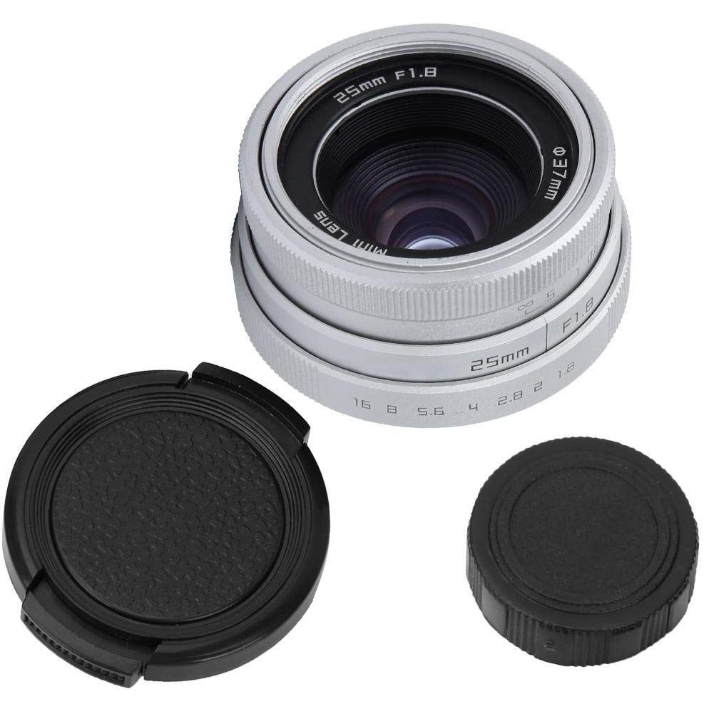 25mm Wide Angle Lens, F1.8 Mini CCTV Wide Angle Lens with C-Frame, 25mm Mini CCTV F1.8 C-Mount Lens(Silver) by Diyeeni