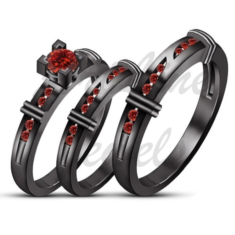 ArtLine Jewels Garnet Wedding Trio Bridal His And Her Band 14K Black Gold Plated Engagement Ring Set