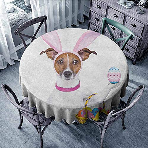 ScottDecor Dining Round Tablecloth Outdoor Picnics Easter,Dog Dressed up as Easter Bunny Holding a Basket of Eggs Funny Animal Illustration, Multicolor Diameter 50