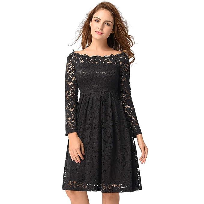 Amazon.com: xunma - Vestido de encaje floral para fiesta ...
