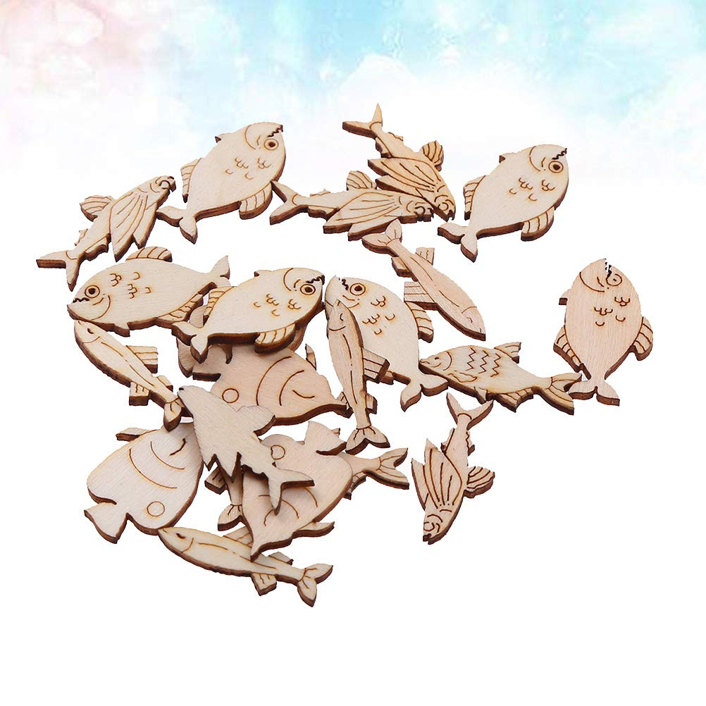 Amosfun 20pcs Unfinished Wooden Shapes Wood Fish Cutouts Wood Embellishment for Baby Shower Wedding Birthday Party