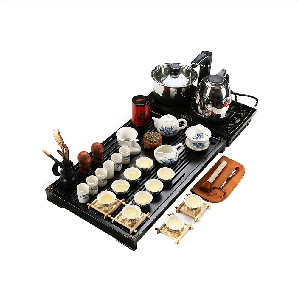 xlshuai Chineseホワイトandブルー磁器カンフー茶セットwith Handwork竹トレイ B01EVI2YPK