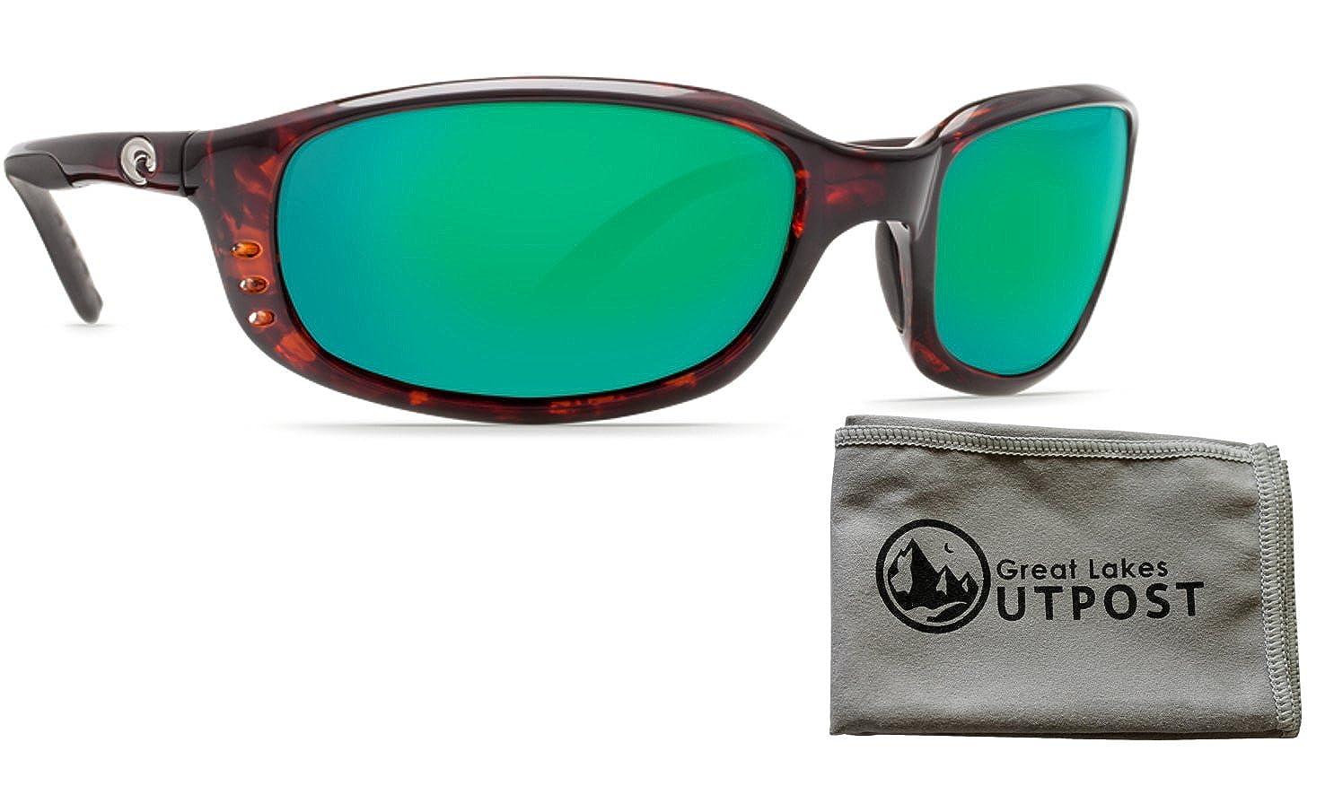 df5e65eb8797c Costa del Mar Brine Green Mirror Glass - W580 Tortoise Frame Sunglasses  w Cloth at Amazon Men s Clothing store
