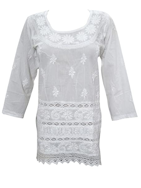e096aee0187 Mogul Womens Top Handmade Cotton 'Floral Fantasy' Tunic Top: Amazon ...