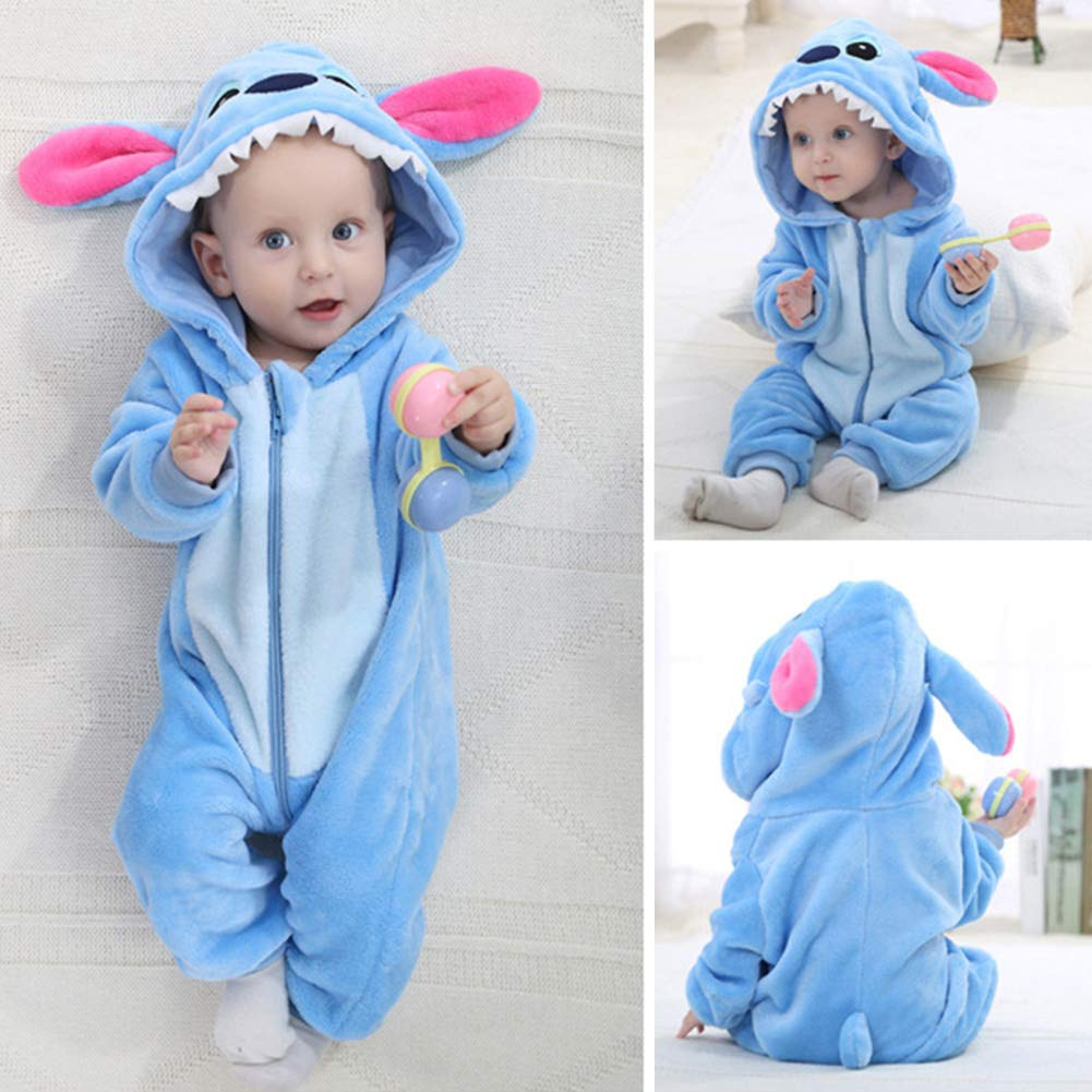 OUYAWEI Cute Cartoon Shape Flannel Hooded Romper for Infant Baby Girl Boy