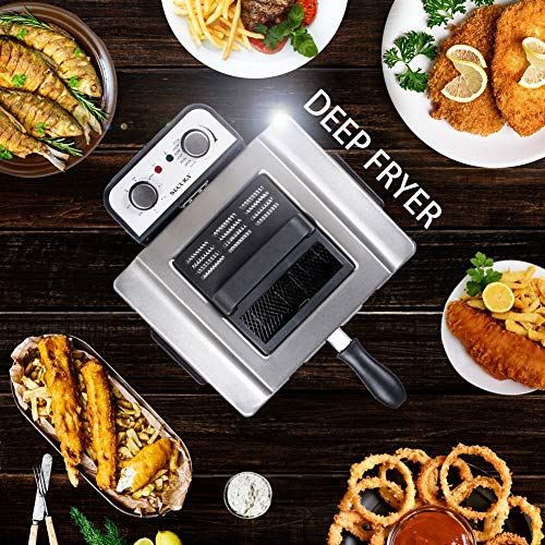 Secura Electric Deep Fryer 1800W Large Stainless Steel with with Triple Basket and Timer MSAF40DH, 4.0L/4.2Qt, Professional Grade by Secura (Image #3)
