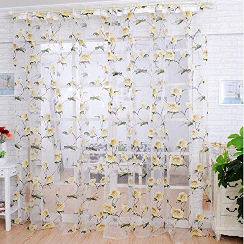 CMrtew Peony Flowers Tulle Window Screens Door Curtain Sheer Scarfs Panel Sheer Cover (Yellow) (Window Peony)