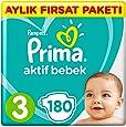 Prima Bebek Bezi Aktif Bebek 3 Beden Midi Aylık Fırsat Paketi, 180 Adet