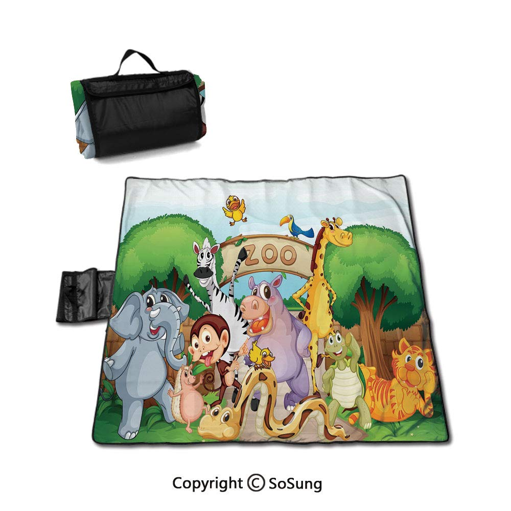 Zoo Picnic Blanket with Tote,Zoo and The Animals in Beautiful Nature Welcoming Playful Outdoors Forest Landscape Foldable & Waterproof Camping Mat for Outdoor Beach Hiking Grass Travel,Multicolor by SoSung