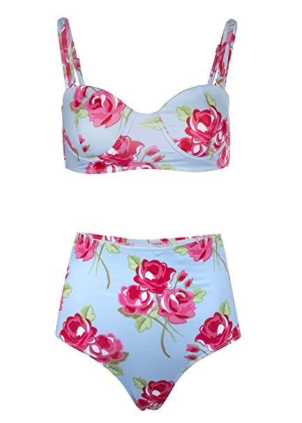 Pretty Attitude Retro Pin Up Flores Flores Mujer Bikini con ...