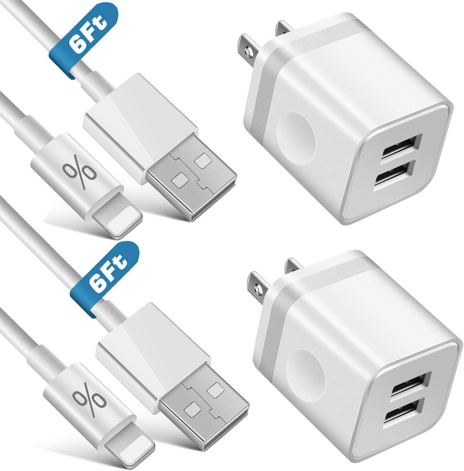 LUOSIKE iPhone Charger, 2-Pack 6Ft Long Lightning Data/Sync Fast Charging Cable with 2-Pack Dual USB Wall Charger Plug Block Compatible with iPhone 11 /Pro Max /SE2 /XR/XS Max/X, 8/7/6S Plus, iPad