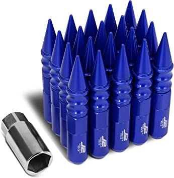 75mm Spiky Cap Lug Nut w//Adapter J2 Engineering LN-T7-020-15-BK Black 7075 Aluminum M12 x 1.5 20Pcs L