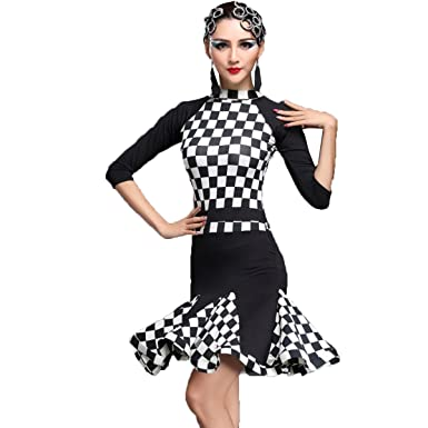 072b25d53 YC WELL Women Latin Dance Dress Long Sleeve Samba Rumba Cha Cha Dance  Clothes(White, M) at Amazon Women's Clothing store: